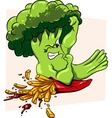 Broccoli vs French fries healthy food fast vector image