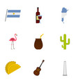 buenos aires travel icons set cartoon style vector image vector image