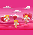 cartoon little cupid playing in the field pink vector image vector image