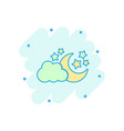 cartoon moon and stars with clods icon in comic vector image