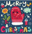 christmas with mittens and decorations vector image vector image