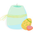 classic easter decor candle with easter eggs vector image vector image