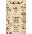 Coffee restaurant cafe menu tea board template vector image vector image