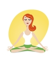 Cute meditating girl in cartoon style vector image