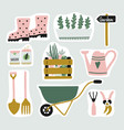 cute set of garden elements stickers gardening vector image vector image