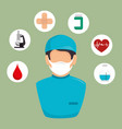 doctor with medical healthcare icons vector image vector image