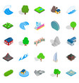 earth landscape icons set isometric style vector image vector image