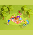 family summer countryside picnic isometric view vector image vector image