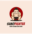 fat sumo fighter mascot cartoon logo icon vector image