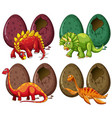 four types of dinosaurs and eggs vector image