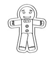 isolated happy gingerbread man vector image vector image
