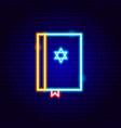 jewish bible neon sign vector image vector image