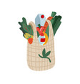 large bag healthy food cartoon flat vector image