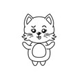 line cute cat wild animal with face expression vector image vector image