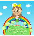 little girl standing on green earth over rainbow vector image