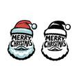 merry christmas handwritten lettering santa vector image