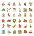merry christmas set 5 filled outline icon vector image