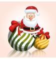 merry chrsitmas santa claus with two ball ribbon vector image