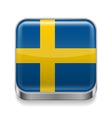 Metal icon of Sweden vector image vector image