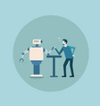 modern robot playing arm wrestling with man vector image vector image