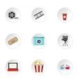 Movie icons set flat style vector image