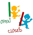 Open and closed announcement with children vector image vector image