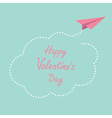 Paper plane cloud in the sky Happy Valentines day vector image vector image