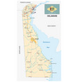 road map us state delaware with flag vector image vector image