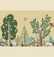 rustic border with trees rabbits eggs and other vector image