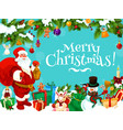 santa with christmas gift bag and decorations vector image vector image