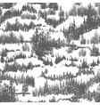 Seamless pattern with hills overgrown by evergreen
