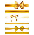 set of golden bows on white vector image