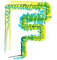 Sketch font Letter F vector image vector image