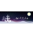 Stylized night winter landscape with Santa and vector image vector image