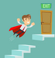 super businessman in red cape flying up climbing vector image vector image