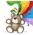 teddy bear with rainbow vector image vector image