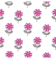 Thin line pink flower pattern vector image vector image