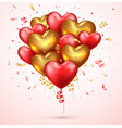 valentines day design background realistic red 3d vector image vector image