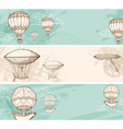 Vintage horizontal banners with air balloons vector image vector image