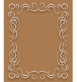 white frame with curls on a brown background vector image