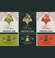 wine labels with wine press and grape bunches vector image