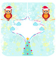 Winter card with cute owls vector image