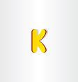 yellow letter k logo symbol vector image vector image