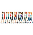 A group of faceless people walking in line vector image