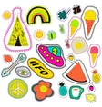 hippie embroidery neon hand drawn patches vector image