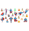 super heroes icon set cartoon style vector image