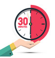 30 thirty minutes clock in hand time symbol vector image vector image