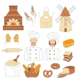 Bakery collection with bakers doodle style vector image