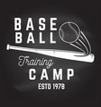baseball training camp on the chalkboard vector image