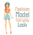 Beautiful cartoon fashion girl model vector image vector image